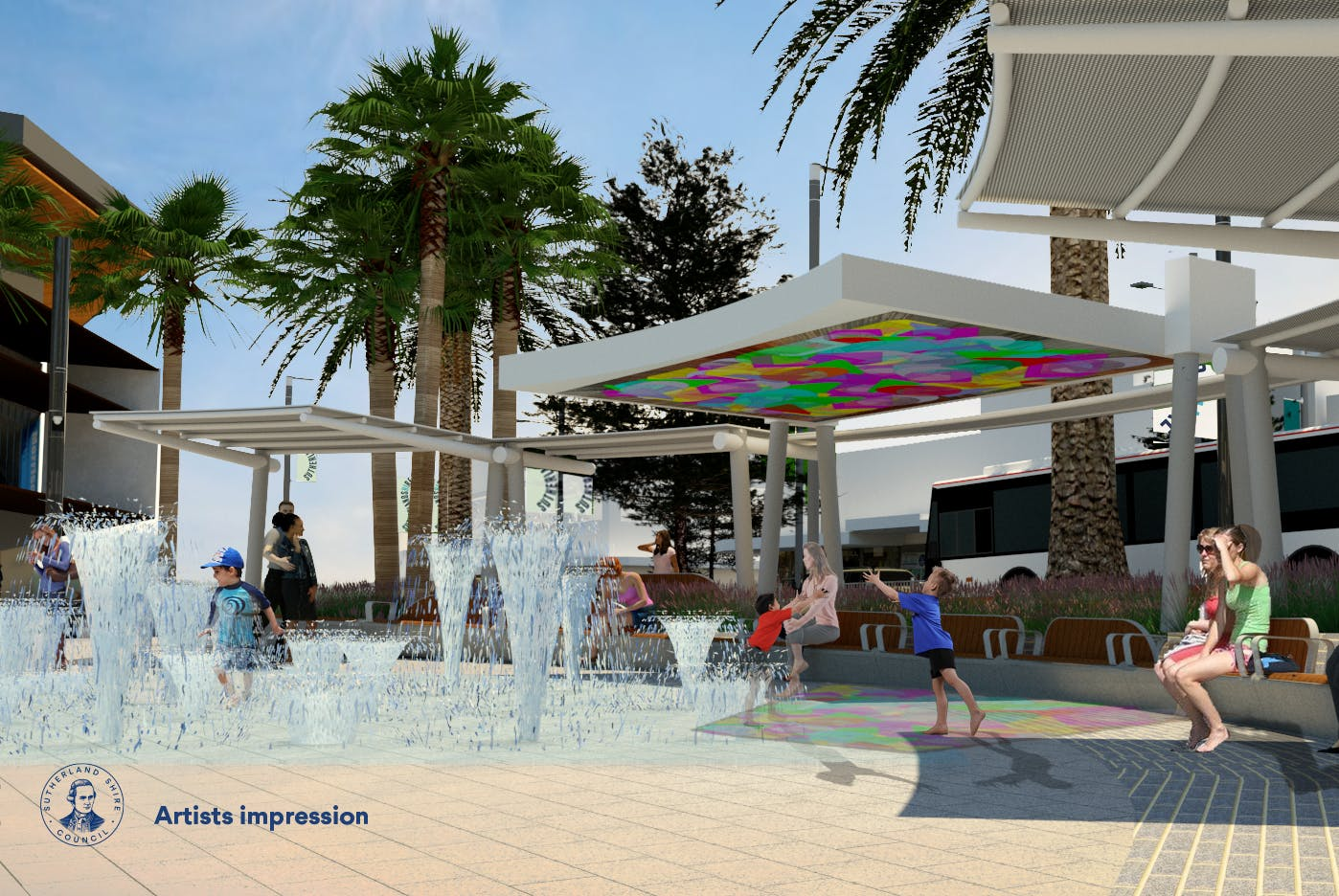 Water and digital play in Cronulla Square