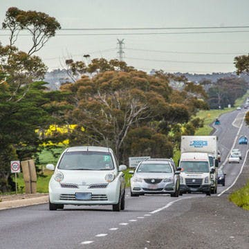 Cars travelling on the midland highway