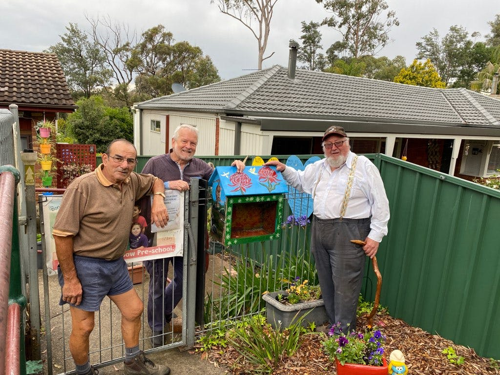 Peter Pugeja, John Crichton and Andrew Jamieson from the Central Blue Mountains shed