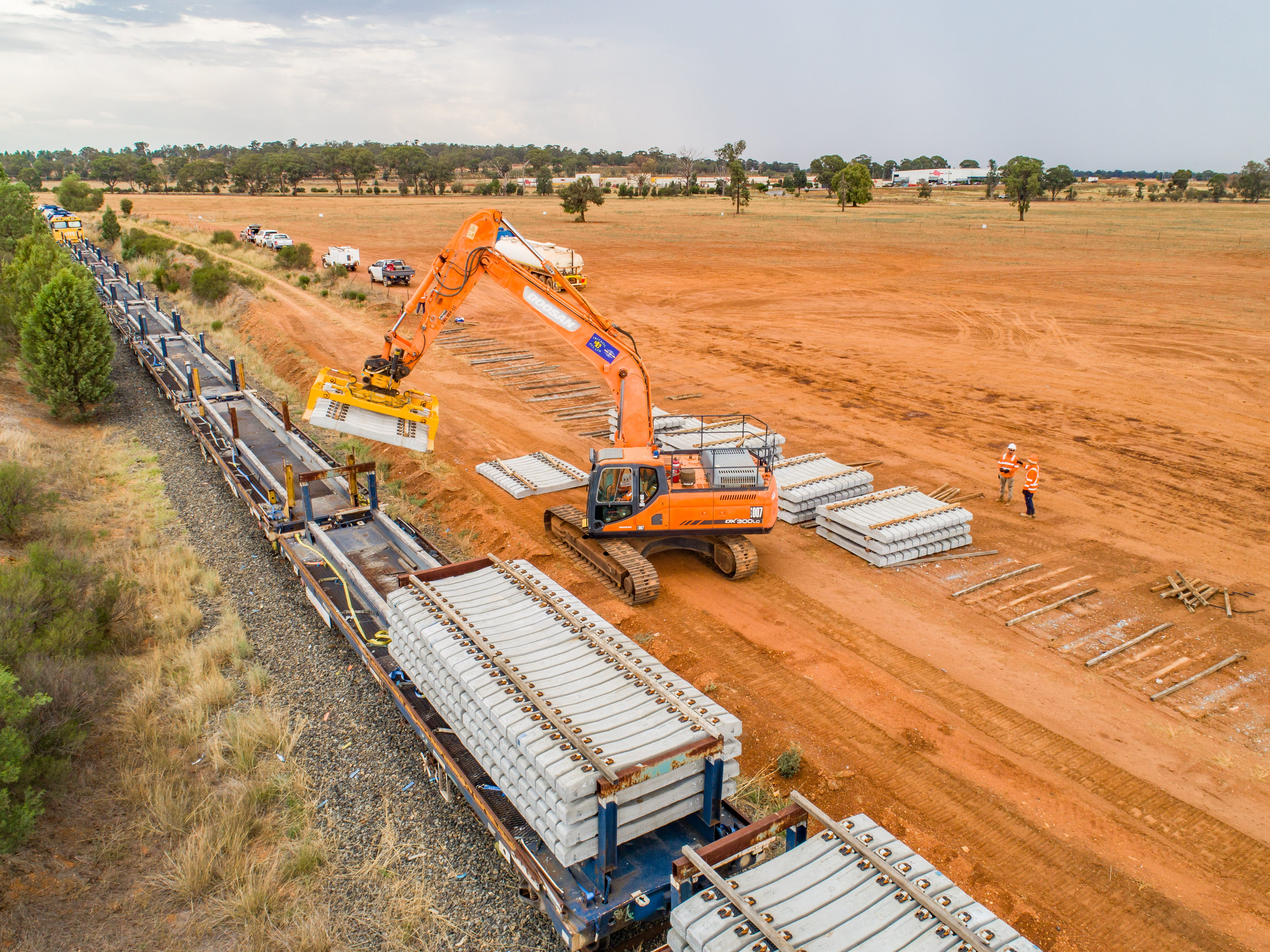 Sleeper delivery in Parkes, NSW, ahead of construction on Inland Rail