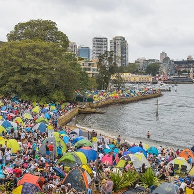 Crowd gathered at Blues Point Reserve