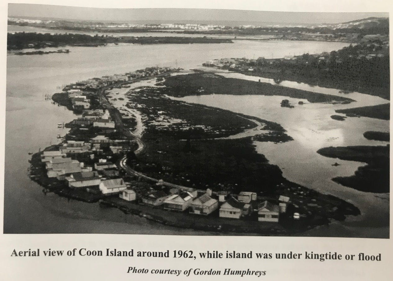 Aerial view of Coon Island around 1962