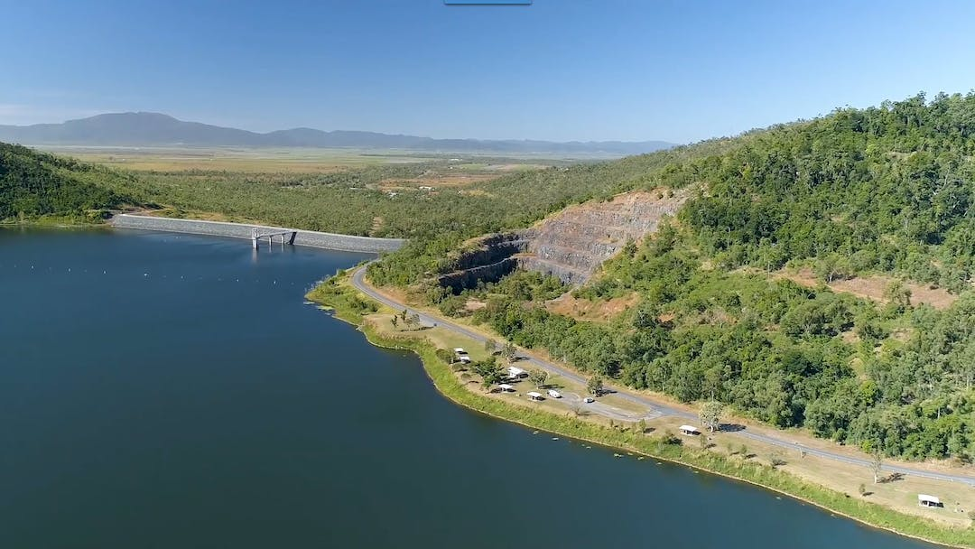 Aerial image of Lake Proserpine with view of picnic area