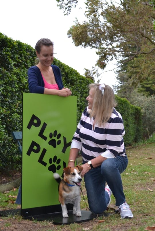 Artist Emma Anna and Dover Heights Resident with her dog