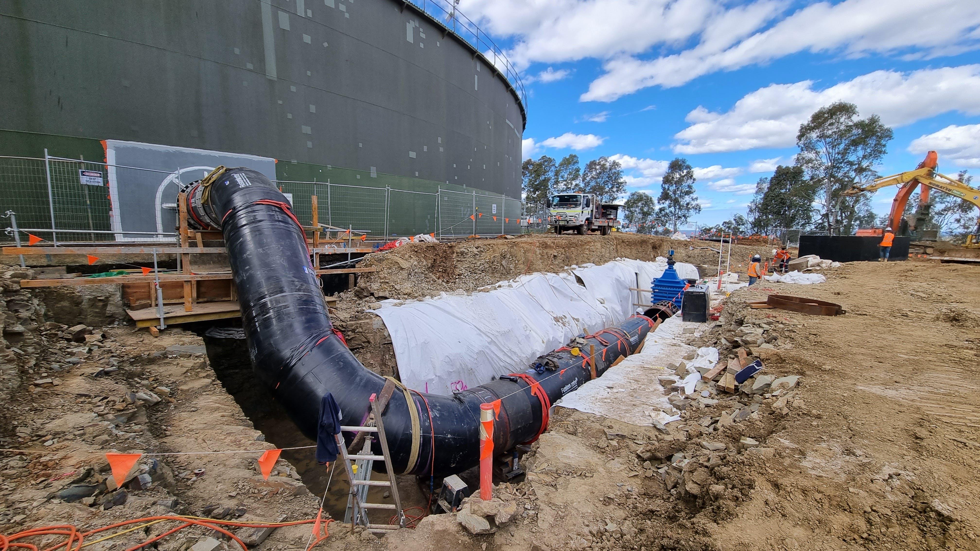 Cecil Park Reservoir pipe connection - September 2021