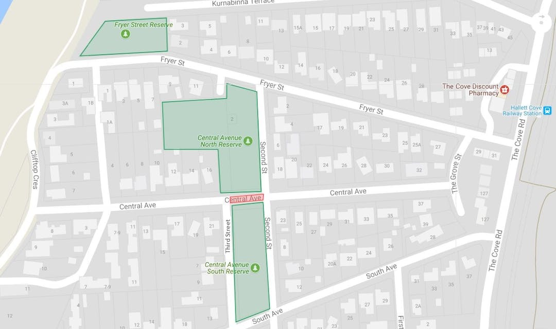 Central avenue reserve fryer street reserve map location road closure