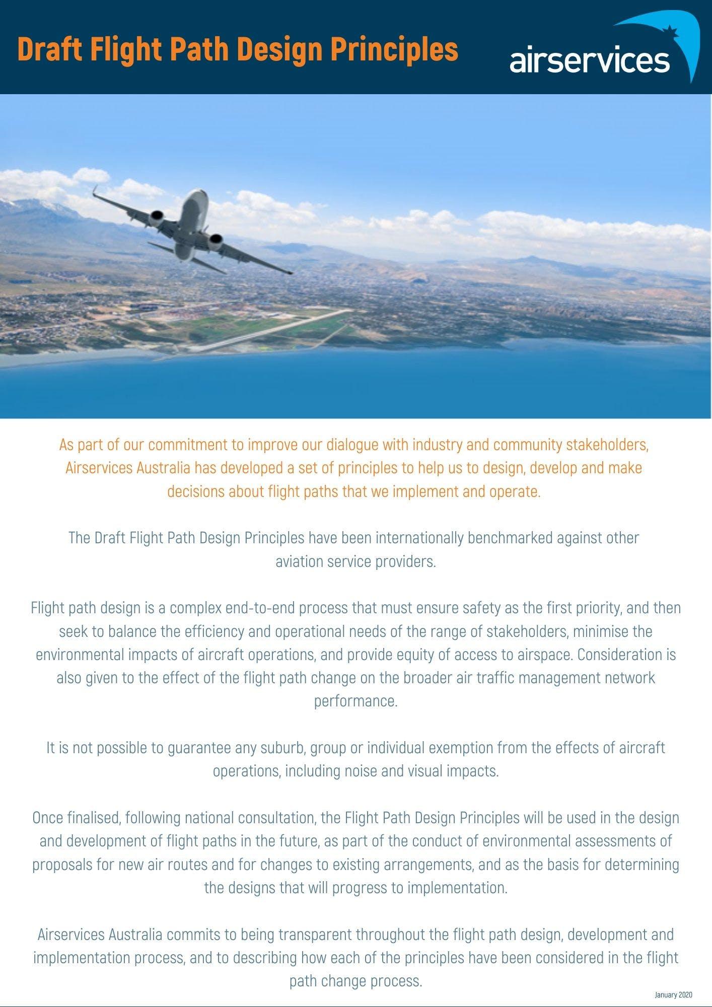 Draft Flight Path Design Principles Fact Sheet (January 2020) page 1