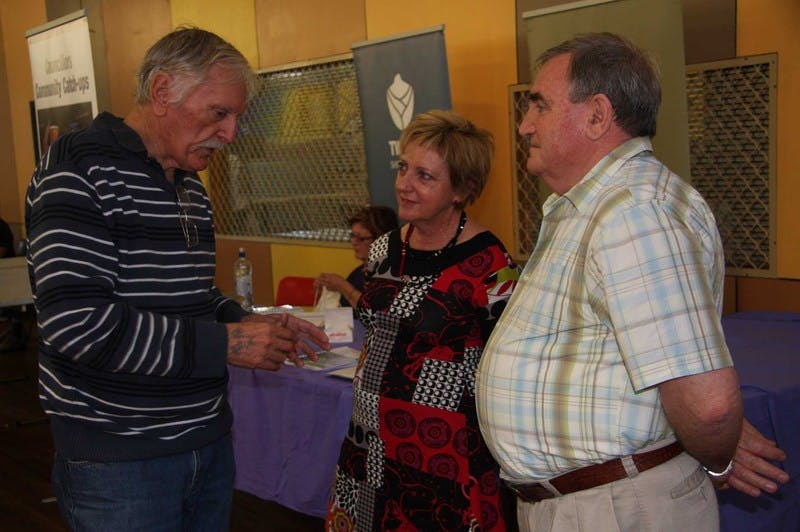 Resident Ken Keane (left) airs his views to councillors Joan van Lieshout and Warren Polglase at the inaugural Councillors' Community Catch-up at the Tweed Heads markets.