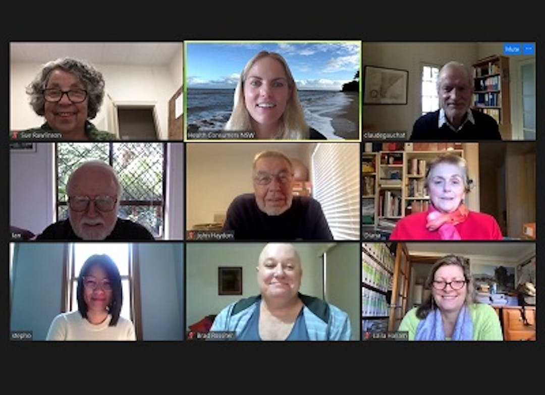 A screenshot showing 9 smiling people participating in a zoom meeting - 9 rectangular images of people smiling, captured by their web cams. Sue, Sarah, Claude, Ian, John, Diana, Steph, Brad and Laila.
