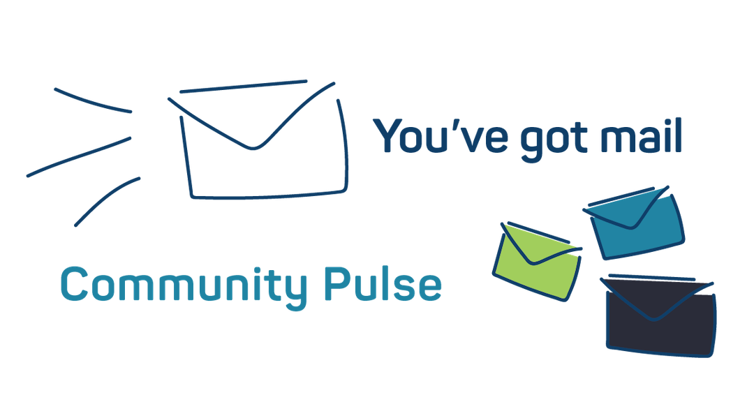 Image of large flying envelope and three small envelopes with the words 'You've got mail - Community Pulse'