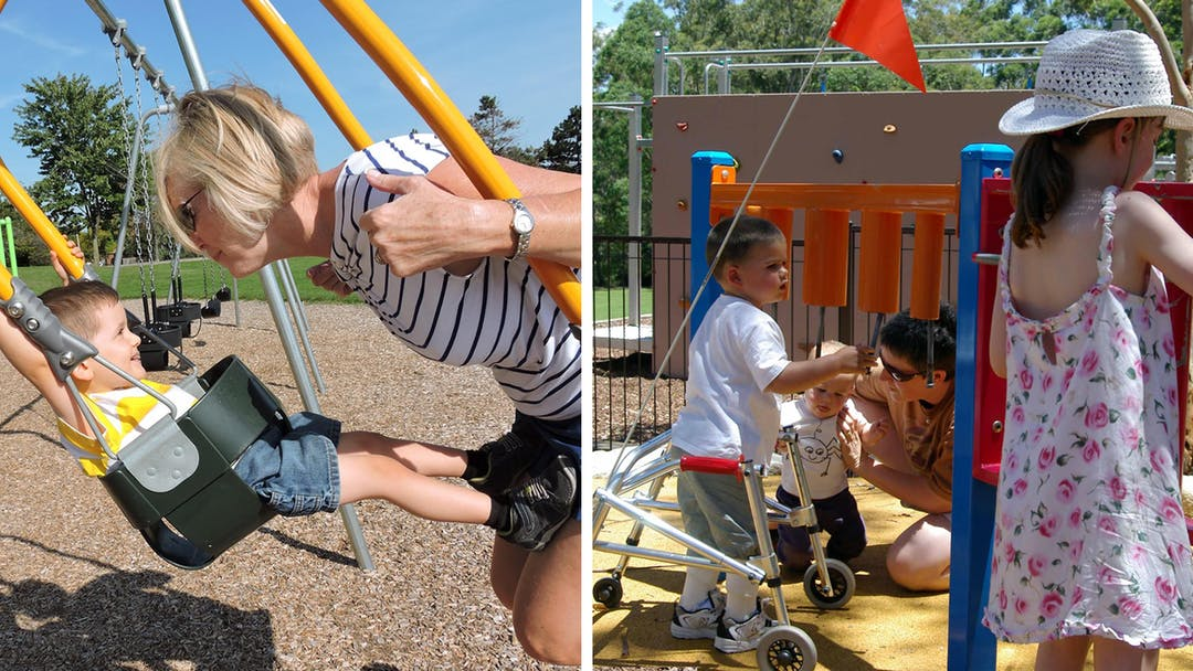 Child with walking frame in playground playing with musical play element and Grandmother on shared swing with grandson