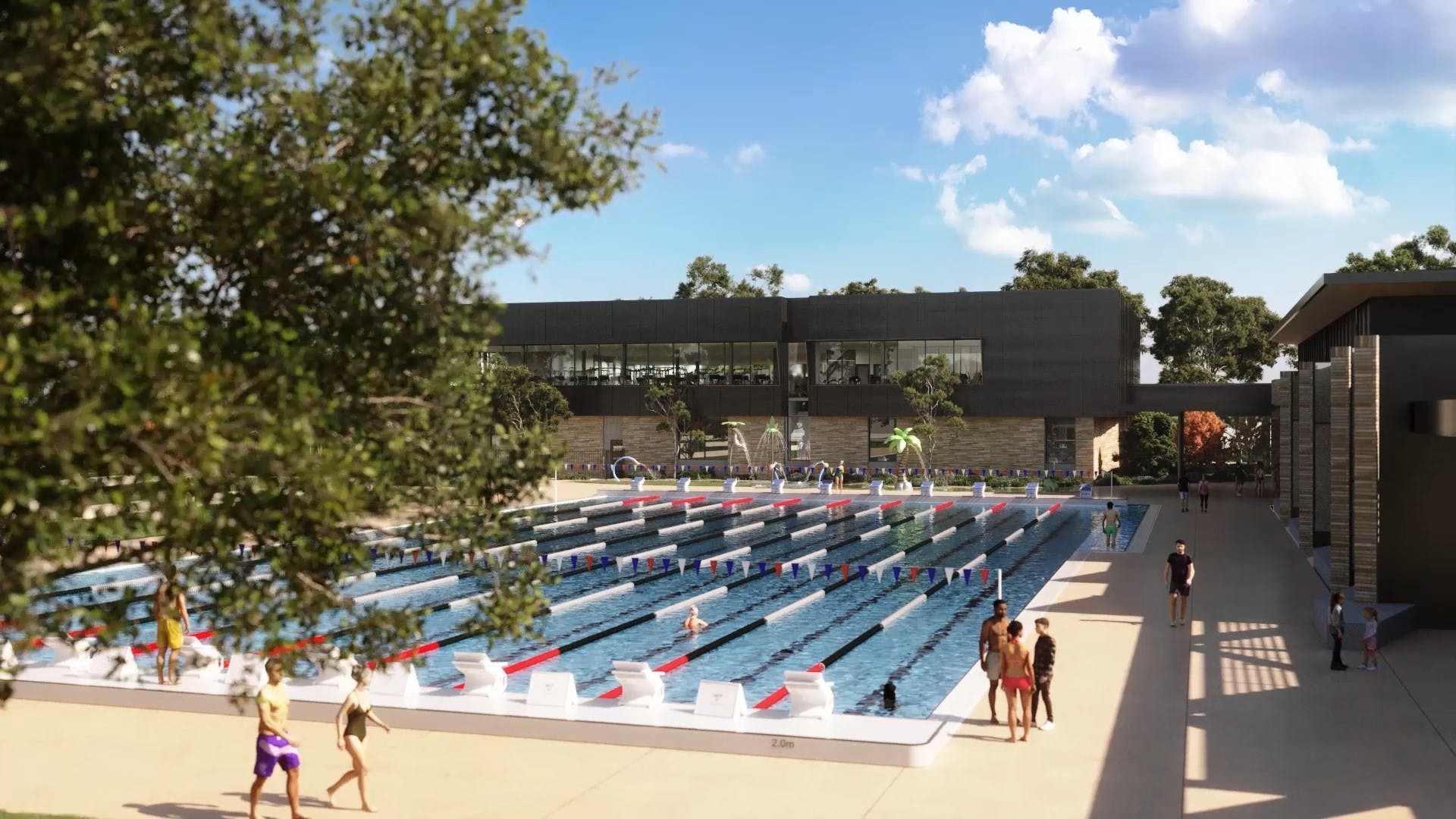 Outdoor pool and Upstairs gymnasium