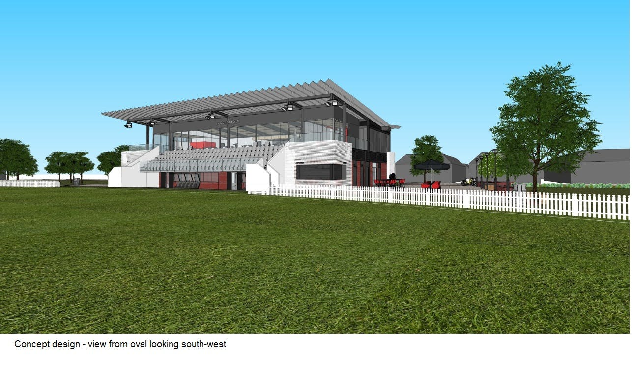 Concept Image of Goodwood Oval Grandstand view from oval SW