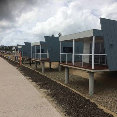 The first cabins installed at the modernised Kingscliff Beach Holiday Park.