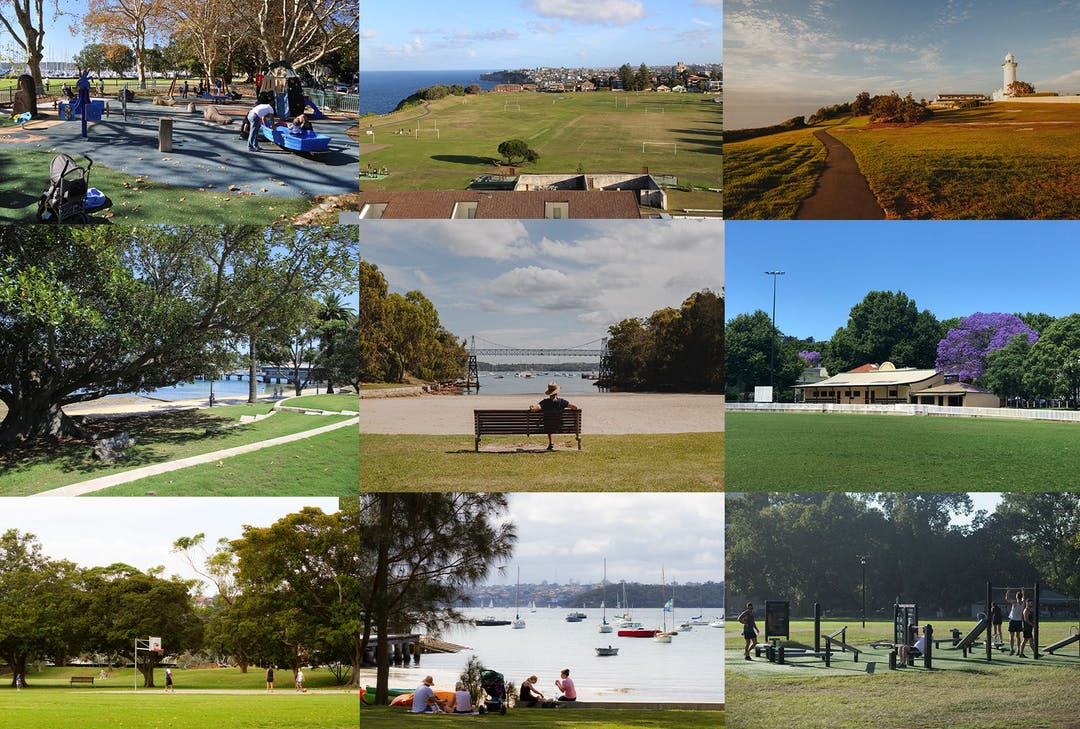 A montage of nine images showing a variety of open spaces in Woollahra.