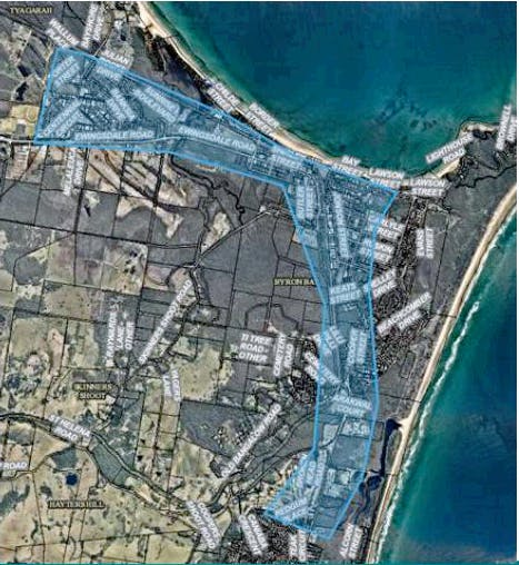 Map of Byron Bay area for Smart Water Meter pilot project