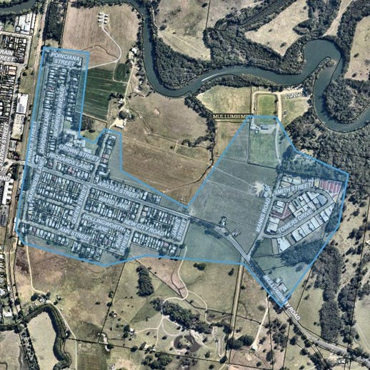 Map of East Mullumbimby area for Smart Water Meter pilot project