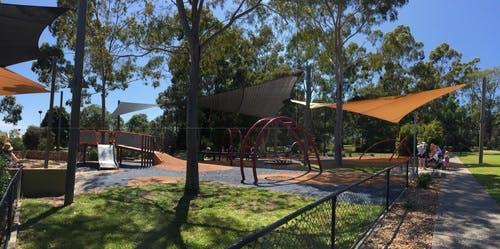 Shade sail in park