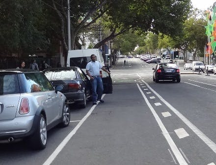 Exclusive Bike Lane with cheveron painted