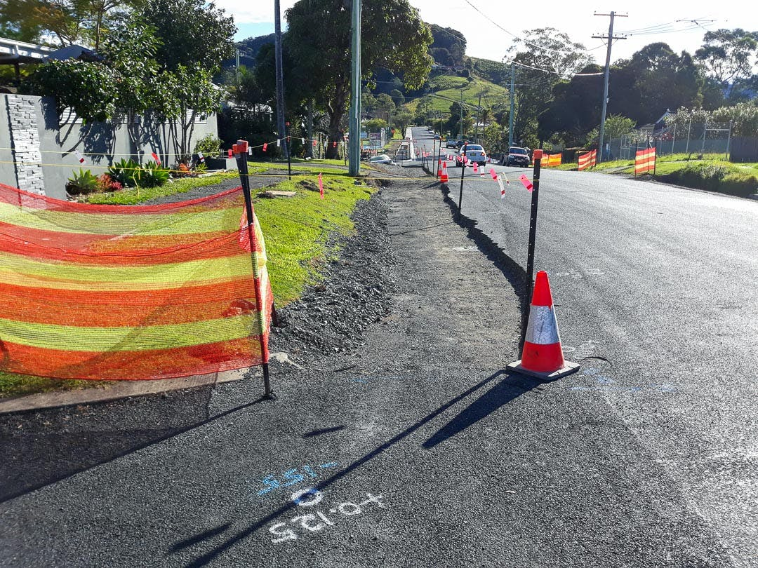 Preparation works for kerb and gutter near the Azalea Street intersection, on King Street July 21.