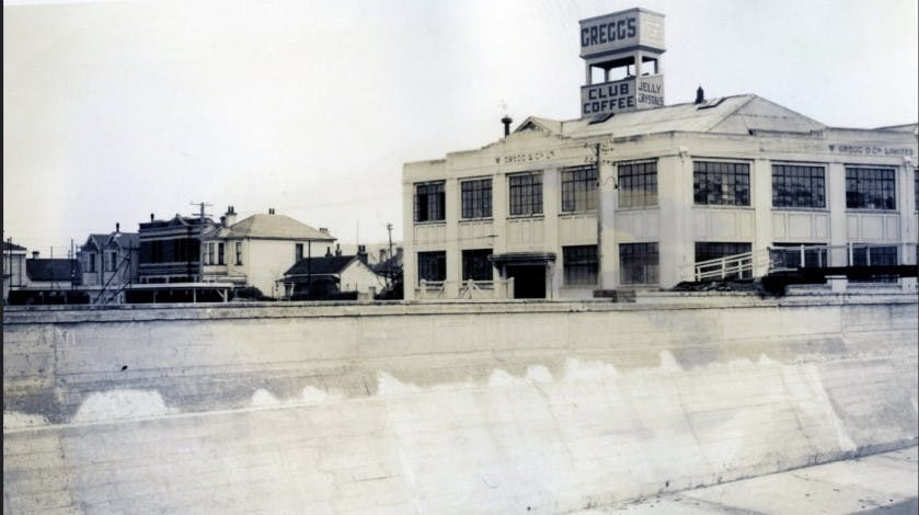 Historic image of Gregg's Coffee Factory and the Leith