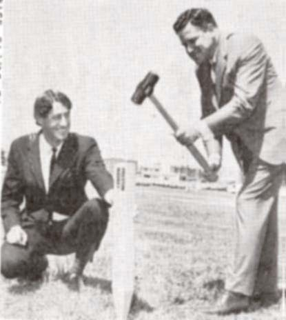 Mayor Larkin lays the first peg in the building of Preston Market, Oct. 1969