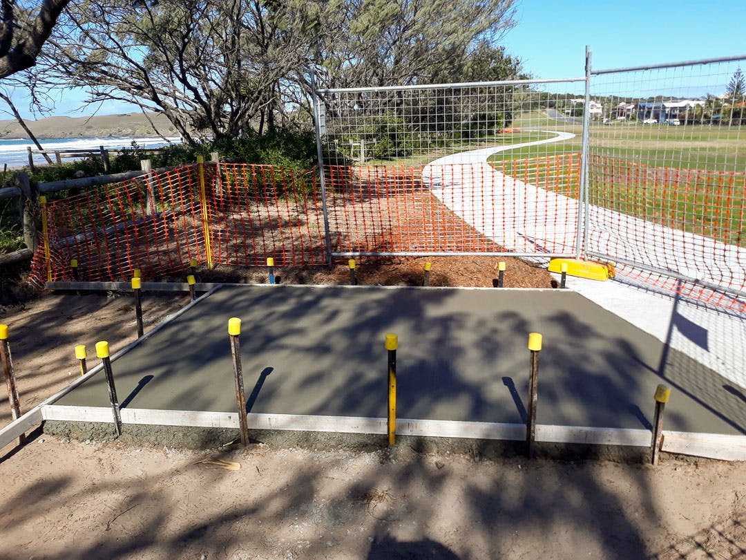 Footings for one of the two new picnic tables being installed along the southern section of shared pathway.