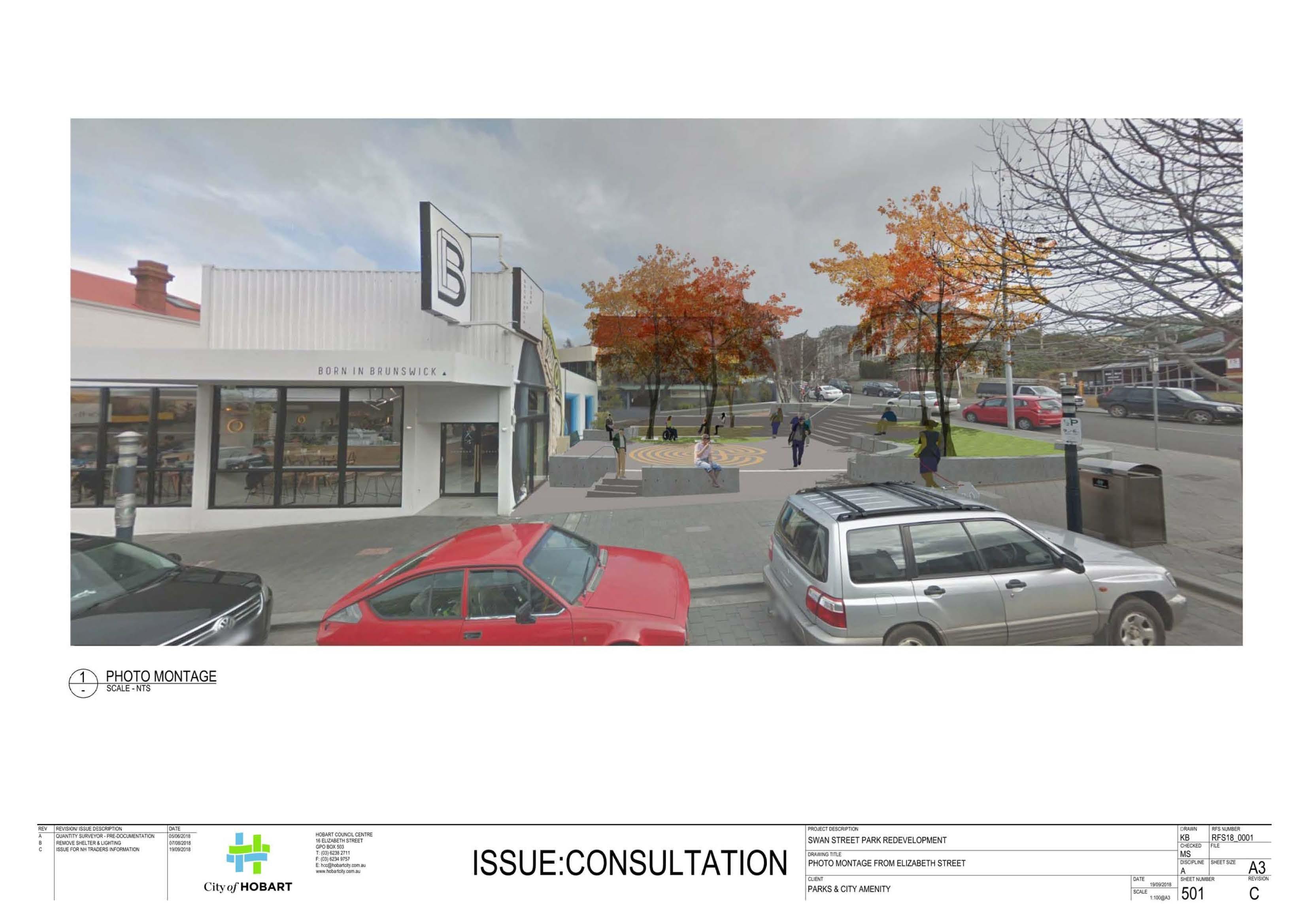 Swan Street Park - Draft concept design street view