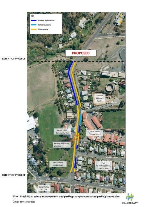 Creek Road Safety Improvements And Parking Changes   Proposed