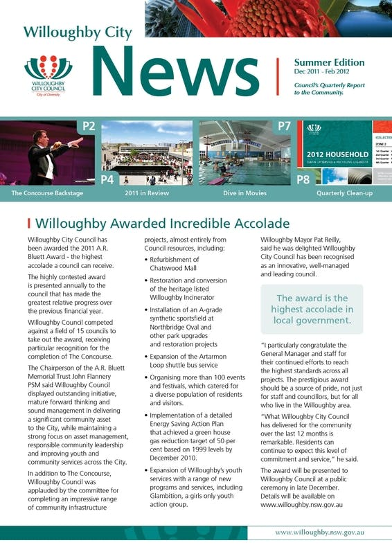 Willoughby City News is delivered quarterly to households in the Willoughby LGA