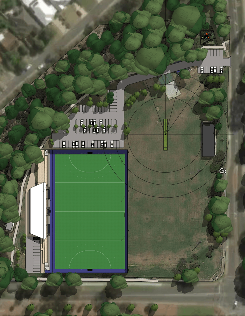 Aerial view of Mt Claremont Oval with overlay of proposal