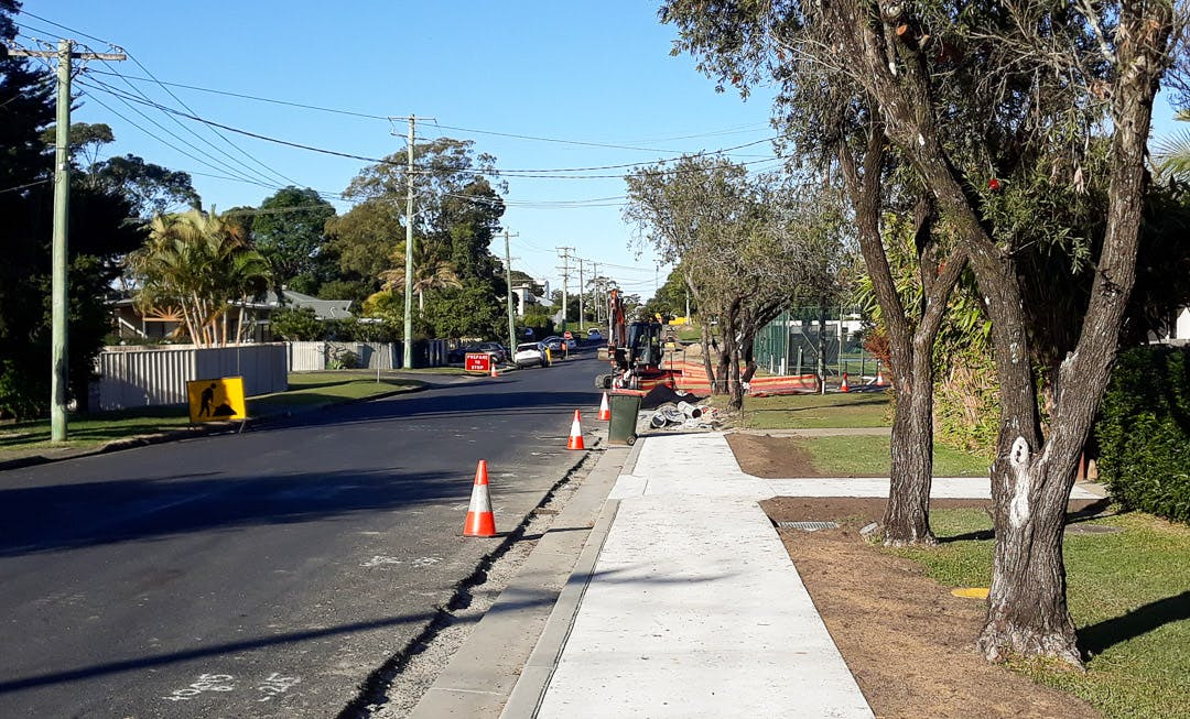 July 15: Kerb and gutter, footpath, crossover and laybacks completed for about half the length of King Street.