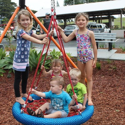 Kids at the opening of stage 1 of the playground
