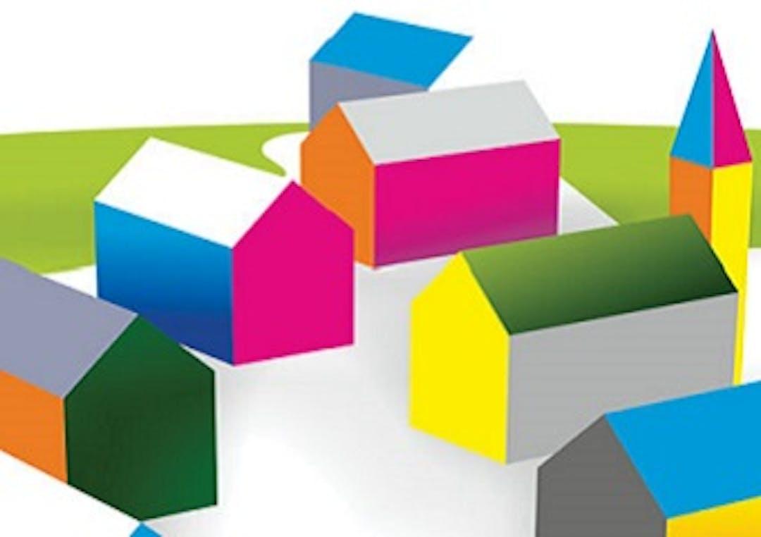 Colourful stylised building scene