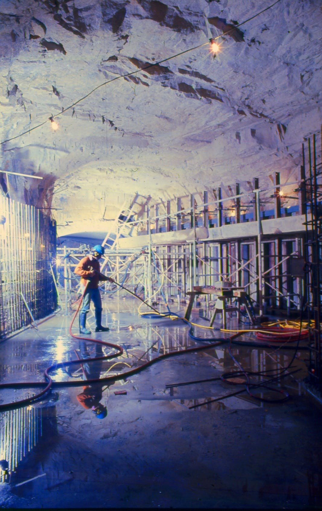 Underground tunnels being cleaned during construction