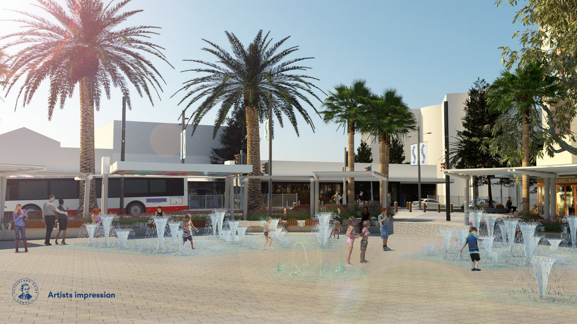Water feature in Cronulla Square
