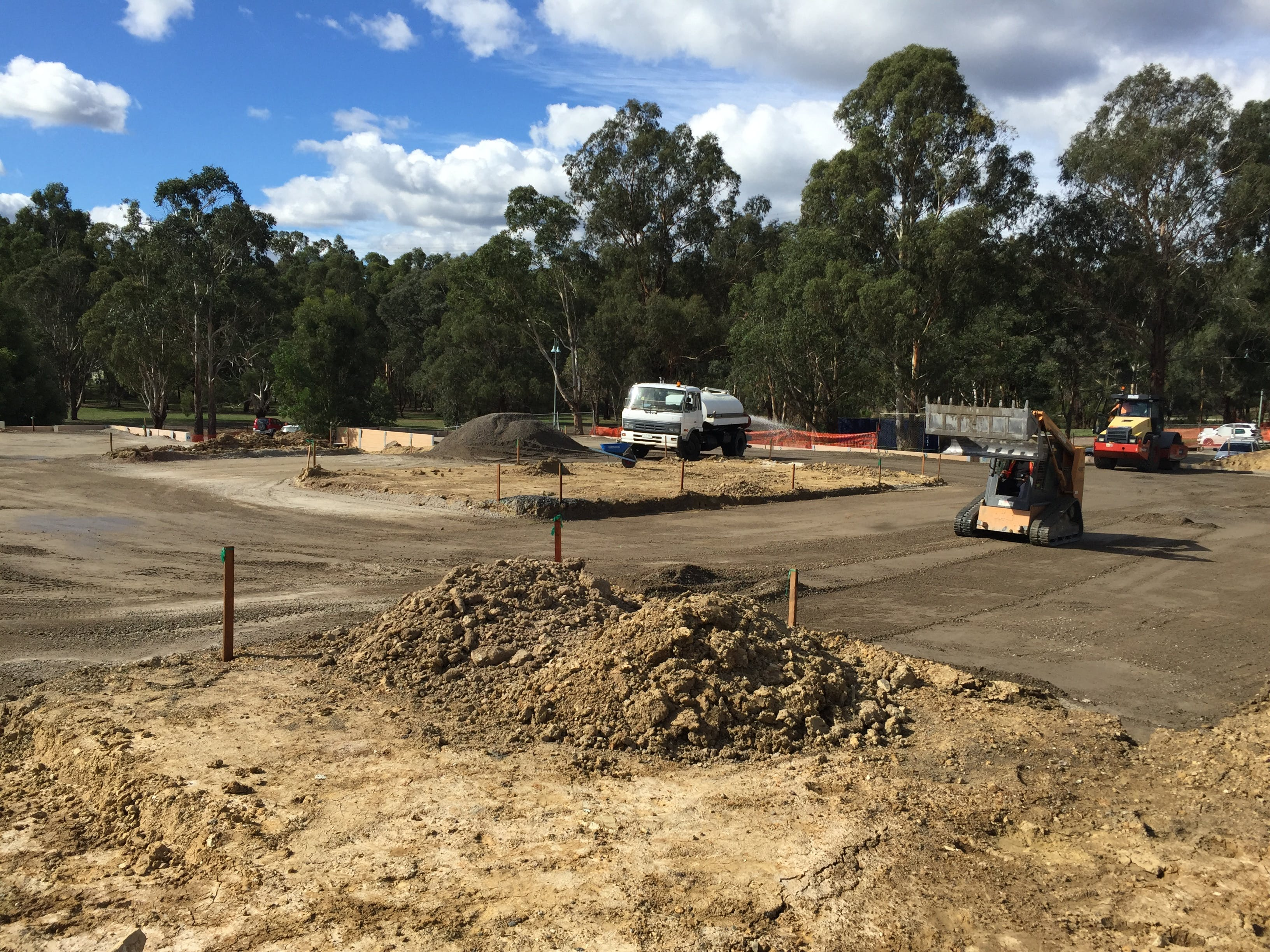 The new car park between the tennis courts and bowling green is taking shape with the construction of road pavement.