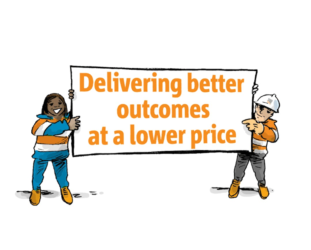 SA Power Networks cartoon staff holding a sign saying Delivering better outcomes at a lower price