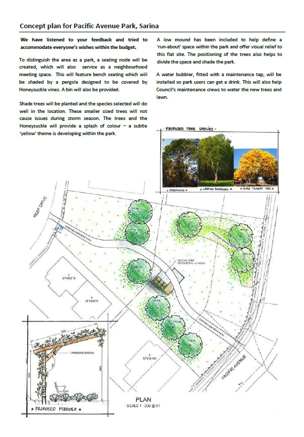 Concept plan of Pacific Ave Park