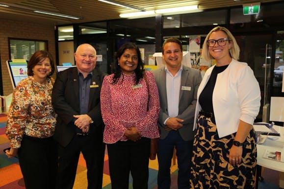 Afternoon Tea with (from left) Beatriz Calero Clark, Councillors, Graham Barry, Yaso Ponnuthurai, Mark Bain, Hon Hannah Beazley