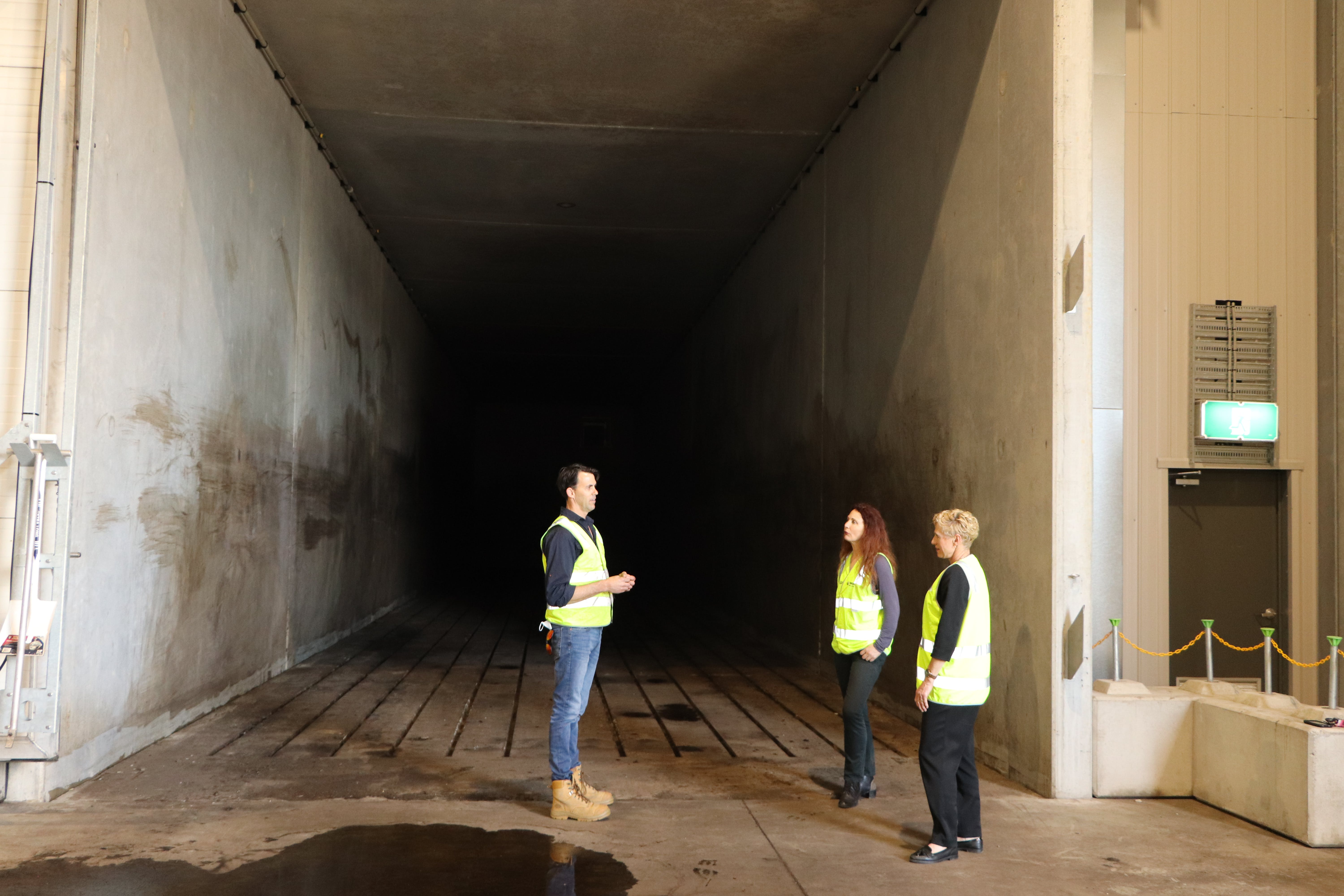 Soilco Operations Manager Mark Emery explains the organic waste drying process to Tweed Mayor Chris Cherry and Director of Sustainable Communities and Environment Tracey Stinson.