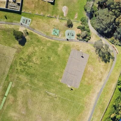 Current Basketball Court At Christison Park - birds eye view