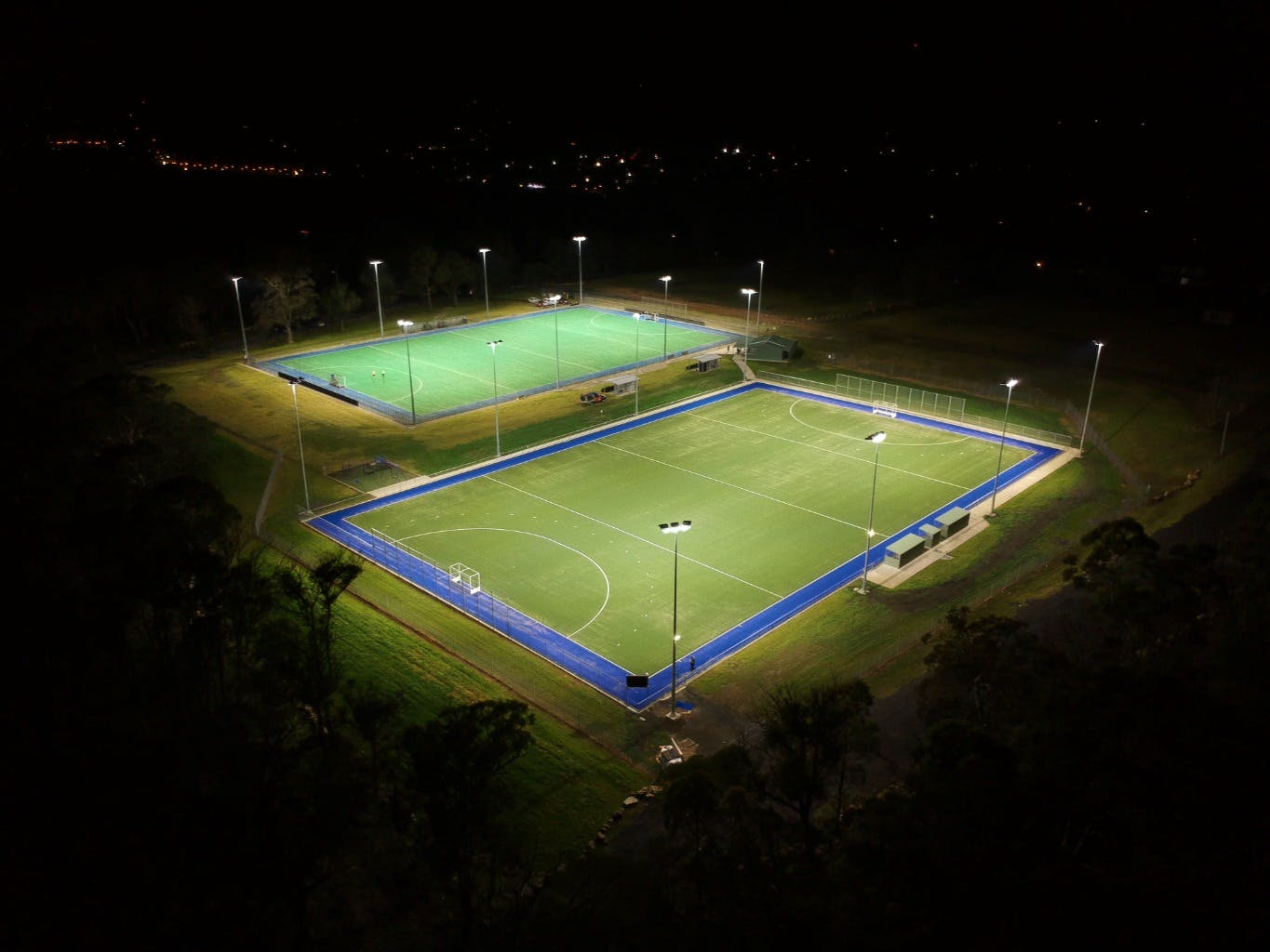 Aerial view of completed 2nd field in foreground