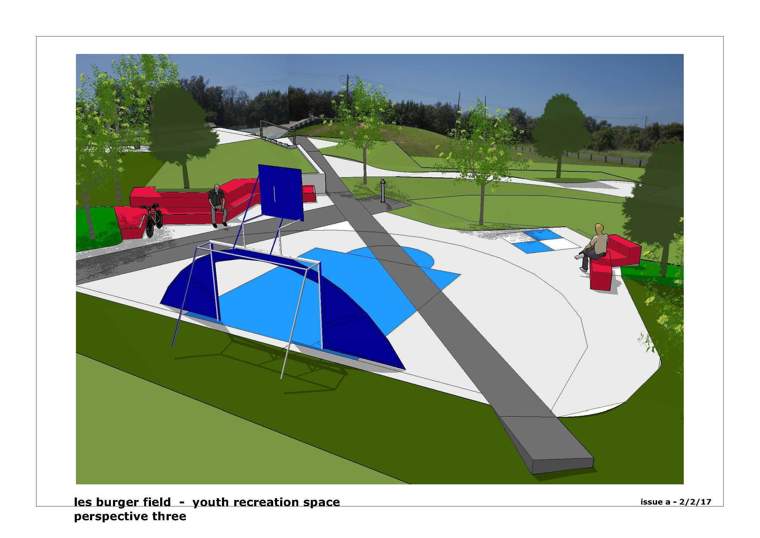 Artist's impression of the expanded youth recreation area - View 3
