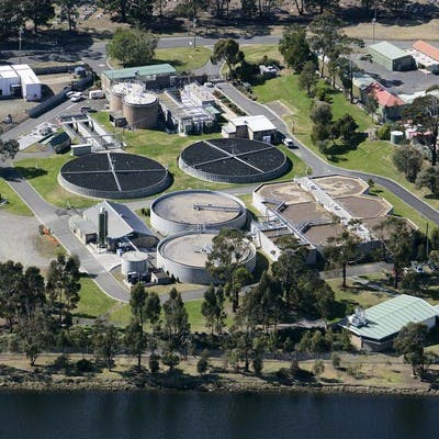 Aerial view of Selfs Point Sewage Treatment Plant