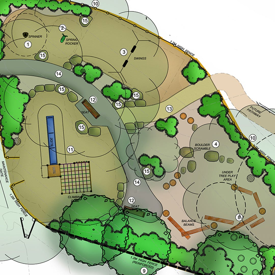 Landscape plans showing plants, location of equipment and elements.