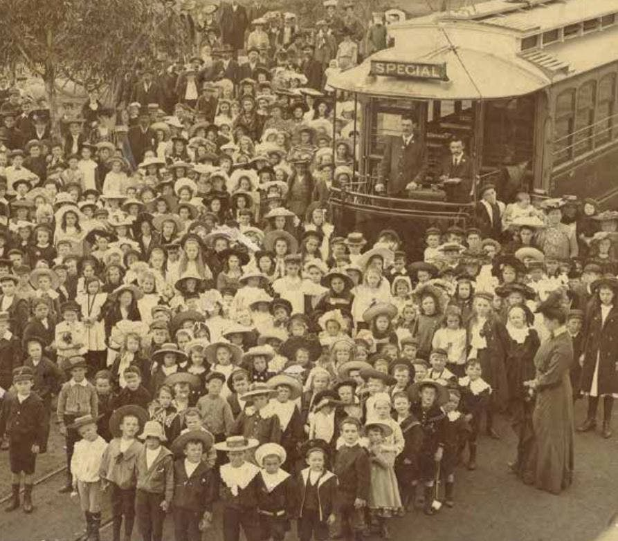 First tram from Victoria Park into Perth, 1905