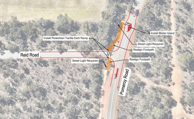 Proposed Changes: Intersection of Pomeroy Road and Reid Road.