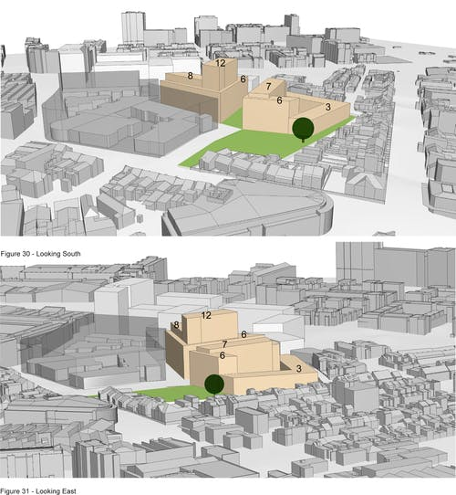 Location of the park and green link and perspectives of building heights