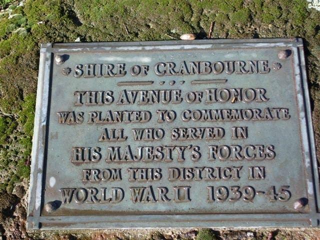 Cranbourne World War II Plaque
